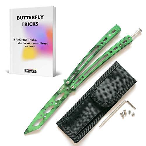 STAINLER legaler Butterfly Trainer – Basilong Trainer – Inklusive E-Book mit Videos zum Tricks Lernen – Butterfly Messer mit Komplett Set von Ersatzteilen, Schraubenzieher und mehr (Grün)