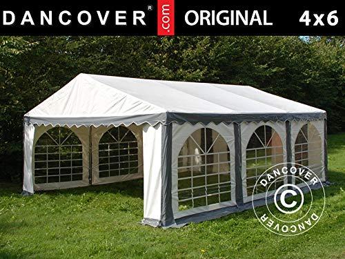 Dancover Partyzelt Pavillon Festzelt Original 4x6m PVC, Grau/Weiß
