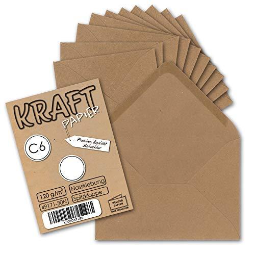 50x Krafpapier Umschläge DIN C6 Braun - 11,4 x 16,2 cm ohne Fenster - Vintage Briefumschläge mit Nassklebung Spitzklappe - NEUSER PAPIER