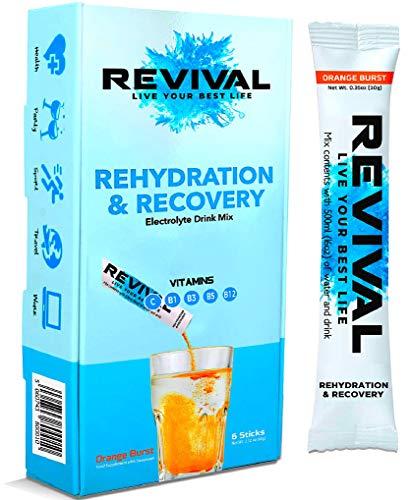 Revival Rapid Rehydration, Electrolytes Powder - High Strength Vitamin C, B1, B3, B5, B12 Supplement Sachet Drink, Effervescent Electrolyte Hydration Tablets - 6 Pack Orange