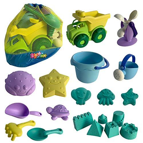 Kinder Sandspielzeug, 20 Teile, Strandspielzeug inklusive LKW, Eimer, Gießkanne, Wasserrad, vielen Sandförmchen aus robustem TPU Material Wasser Spielzeug Set für Strand Sandkasten Garten Badewanne