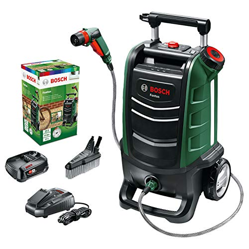 Bosch Fontus 06008B6070 Cordless Outdoor pressure washer Cleaner, with 15 Litre Water Tank (1 Battery, 18 Volt System, Maximum Pressure: 15 Bar)