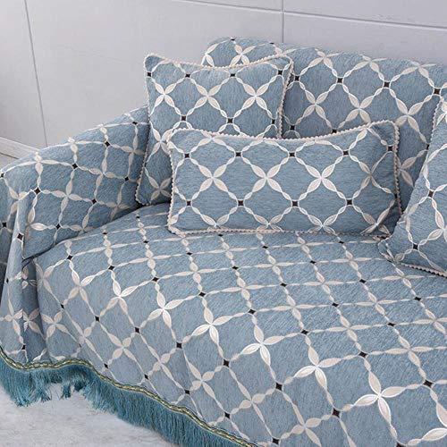 KKDIY Funda de sofá de un Solo Asiento Bordado Jacquard Chenilla sofá Toalla Funda Antideslizante reposabrazos Respaldo Fundas de sofá para Sala de Estar-como Imagen, 190x230cm