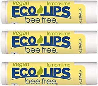 Vegan Lip Balm Lemon Lime By ECO LIPS Flavor 3 Pack - Natural Bee Free with Candelilla Wax, Organic Cocoa Butter & Coconut...