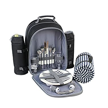 Mister Alfresco Picnic Backpack for 2 by, Stylish Black Color With Insulated Cooler Compartment 2 Detachable Bottle/Wine Holders Fleece Blanket Flatware and Plates. Light-weight, Versatile