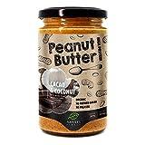 Nature's Finest Burro di Arachidi 100% Biologico con Polvere di Cacao e Pezzi di Cocco | 350 g | Senza Zuccheri Aggiunti, Senza Olio di Palma | Tostatura Croccante | con Proteine Vegane | Paleo e Keto