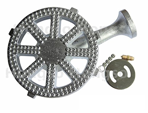 Hongso Classic Silvery Cast Iron Banjo Burner for 30 PSI Regulator, 10 Inch Diameter Burner Head, High Pressure Replacement Part CBBG14
