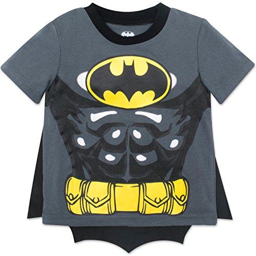 DC Comics Batman T-Shirt, Verkleidung, Kostüm für Jungen mit Umhang, grau, 5-6 Jahre