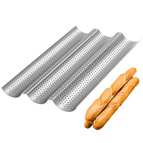 QAQGEAR Baguette-Backblech,38x24.5cm Baguetteform,Karbonstahl für 3 Baguette,mit Antihaftbeschichtung,Backform mit Gut Wärmeleitun,Blech Brotbackform (Silber)