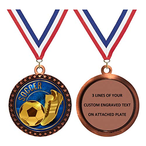 Custom Engraved 2-1/2 inch Die-Cast Metal Award Medallion with Antique Bronze Finish and Attached 2 Inch Full Color Laminated Sport Insert.