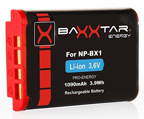 Baxxtar PRO - Ersatz für Akku Sony NP-BX1 - Vlog ZV-1 DSC HX90 HX95 HX99 RX100 WX350 HX400V HDR AS100V FDR X1000 X3000