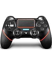 QULLOO Mando para PS4, Joystick Inalámbrico para PS4, Controlador con Vibración Doble / 6-Ejes/Puerto de Audio Remoto/Panel Táctil, Mando Bluetooth para Playstation 4 / Pro/Slim (Rojo)