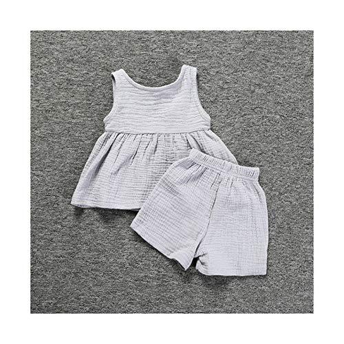 `Star Empty Ropa de bebé Niñas de Verano Sin Mangas Lino de algodón Trajes para bebés Infantiles Chaleco Top Falda Shorts Set de Dos Piezas Trajes de niñas (Color : Gray, Kid Size : 70)