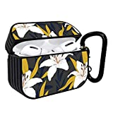 Shockproof Portable Protective Hard Printing Pattern Cover Case with Carabiner Compatible with AirPods Pro/Lily Flowers with Branches and Leaves Scattered Random