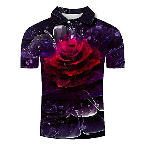 Herren 3D Druckten Kurzarm Poloshirt, Hawaiihemd Lustig Shirt für Täglich Urlaub T-Shirt, Oberteil für Männer, Herrenshirt Lässiger Klassiker bequem atmungsaktiv, Wasser Welle Rote Blume, 5XL