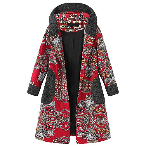 MIRRAY Damen Vintage Mäntel Kapuzen Langarm Fleece Verdicken Mäntel Button Lange Jacke