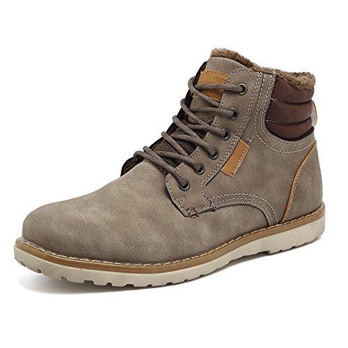 EYUSHIJIA Men's Waterproof Snow Boots Hiking Boot (12 D(M) US, Light Gray-Fur Lining)