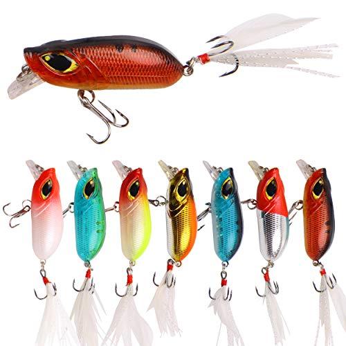 Shallow Crankbaits Fishing Lures Set - 7pcs Plastic Minnow Lures with Sharp Treble Hooks and...