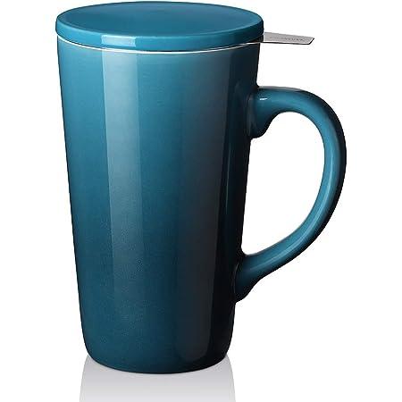 DOWAN Tea Cups with Infuser and Lid, 17 Ounces Large Tea infuser Mug, Tea Strainer Cup with Tea Bag Holder for Loose Tea, Ceramic Tea Steeping Mug, Blue Color Changing