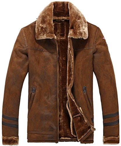 JIINN Herren Winter Dicke Warme Vintage Wildleder Lammfell Jacke Kurze Kunstpelz Leder Mantel Parka Luxus Kaschmir Futter Overcoat Suede Fur Leather Coats (DE1602 Braun, EU X-Large)
