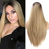 Ombre peluca a prueba de calor larga recta media parte rubia oscuro marrón raíces pelucas sintéticas del partido para las mujeres 22 pulgadas(55,9 cm)