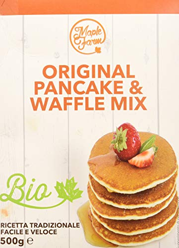 MapleFarm - Preparato per pancake e waffle BIOLOGICO - Astuccio 500g - Original PANCAKE MIX BIO