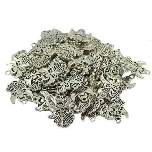 Generic 50 Stück tibetische Silber Filigran aushöhlen Engel Charms Anhänger DIY Schmuck