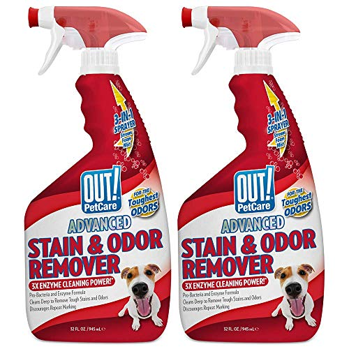 OUT! PetCare Advanced Stain and Odor Remover | Pro-Bacteria and Enzyme Formula for Tough Stains and Odor | 32 oz (Pack of 2)