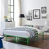 Modway Horizon Replaces Box Spring-Folding Metal Mattress Bed Frame, Full, Green