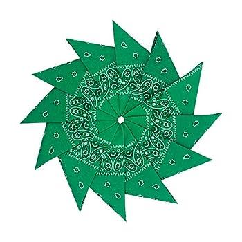 Junvena Cotton Bandanas 12 packs 22 X 22  Double Sides Printed Unisex Kerchief (Green)