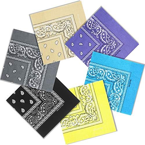 Bandana Baumwolle Set, 6 Stück Paisley Bandana Herren Kopftuch Halstuch, 54 X 54cm Bandana Multifunktionstuch für Herren Damen und Kinder (6 Farben)