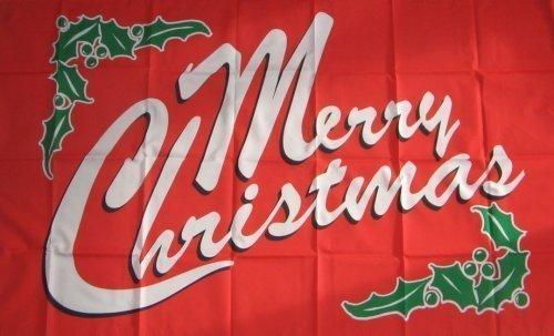 Drapeau motif « Merry Christmas » Rouge 152 x 91 cm