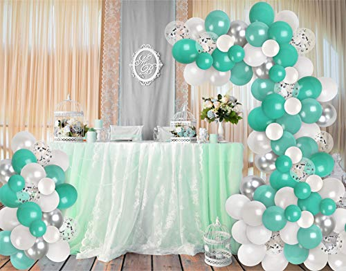 Chrome Silver Turquoise Balloon Garland Kit White Teal Balloons Arch Silver Confetti Balloons Wedding Engagement Party Decorations Birthday Baby Shower Party Supplies