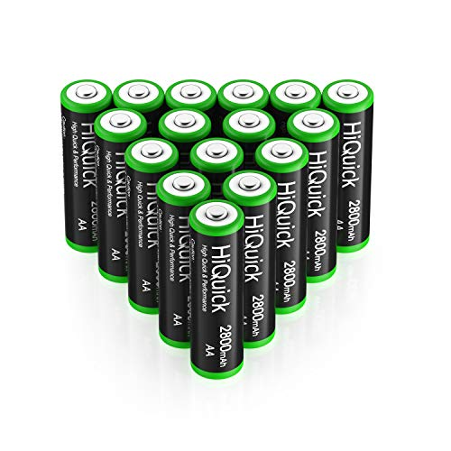 HiQuick単三電池充電式ニッケル水素電池高容量2800mAhケース4個付き約1200回使用可能単3形充電池単三充電池16本セット