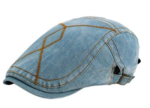 Leisial Hombre Boinas Vaquera Vintage Gorra con Visera Deporte al Aire Libre Sombrero del Sol Sencilla Ocio Sombreros de Viajes para Unisex-Adult,Azul Claro