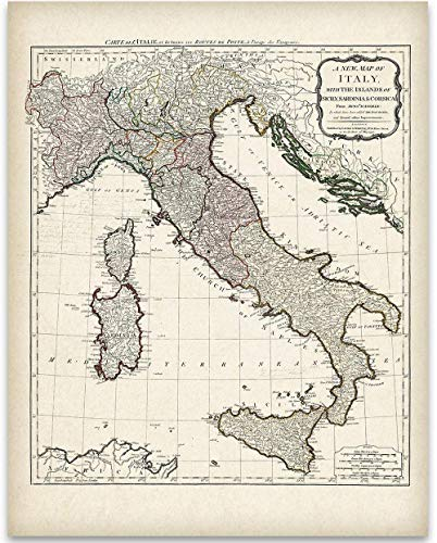 1794 Italy Map - 11x14 Unframed Art Print - Great Home Decor Under $15 for Italians