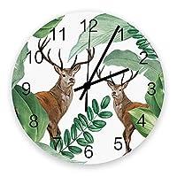 掛け時計 西欧 バナナ 熱帯植物 ナチュラル 壁掛け時計 掛時計 静音 clock サイレント 壁時計 部屋 リビング 玄関 インテリア コンパクトサイズ 電池式 木掛け鐘 大数字 円形 贈り物 直径 30cm