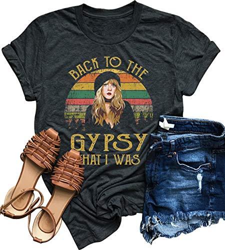 Women Vintagae T Shirt Back to The Gypsy That I was Stevie Shirt Nicks Graphic Music Tees Shirt Rock Band Tops Blouse (M, Grey)