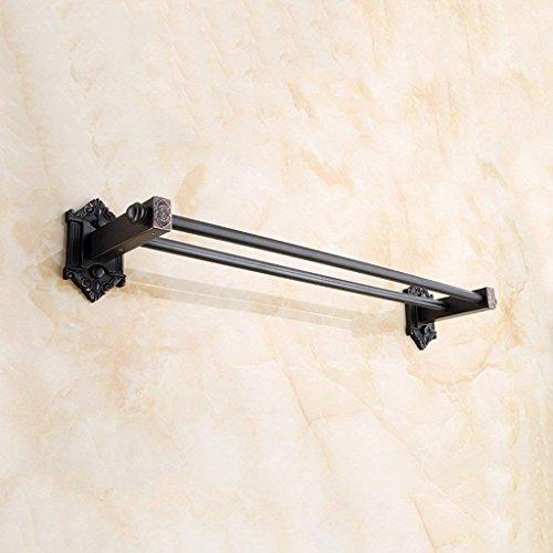 ZKAIAI Punch-Libre Toallero Negro Retro toallero Barra de baño Toalla de baño Colgante Antiguo multifunción Multi-Capa de Almacenamiento