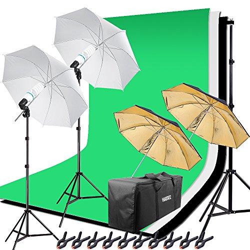 HAKUTATZ® Hintergrund Fotostudio Set 5-in-1 Reflektor 4X Hintergrund Lampenstativ Softbox mit Schutztasche Greenscreen Set