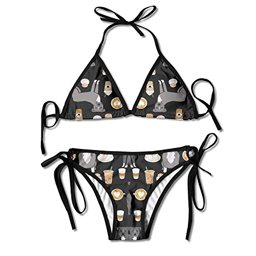 Zcfhike Grey Coat Coffee Latte Cafe Dog Black Women Sexy Low Waist Bandage Bikini Beachwear Swimsuit