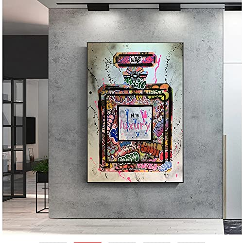 SYBS Art Deco Graffiti Art Perfume Botella Lienzo Pintura Arte impresión Imagen de la Pared para la Sala de Estar nórdica decoración del hogar -70x120cm1pcs sin Marco