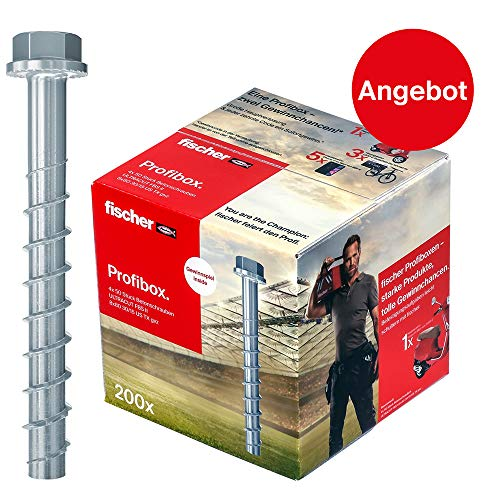 fischer 553686 Profibox ULTRACUT FBS II 8x80 30/15 US TX gvz-Betonschraube zum Befestigen von Geländern, Metallprofilen, Regalanlagen in Beton, 200 Stück, grau