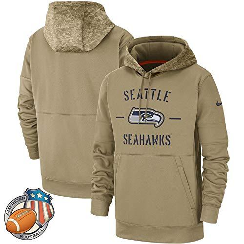Männer Hoodie - Seattle Seahawks - Camouflage Amerikanischen Rugby Pullover Fußballfan-Ball Jersey Army Green-XL