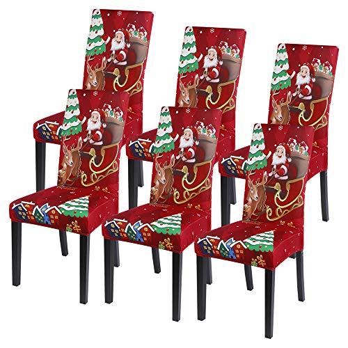Souarts Xmas weihnachtlich Stuhlhussen Strech Stuhlbezug Festlich Husse Dekoration Stuhlüberzug 1er 2er 4er 6er Set Universelle Passform für Weihnachten Party Esszimmer