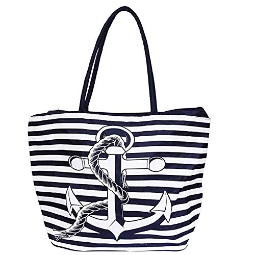 SG Strandtasche Badetasche Maritim Anker Streifen Dunkelblau Umhängetasche Shopping Tasche