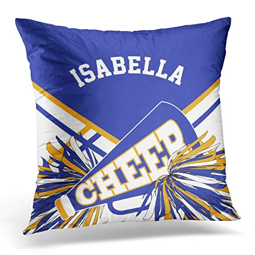 Throw Pillow Cover Cheerleading Cheerleader in Blue White Gold Squad Decorative Pillow Case Home Decor Square 18 x 18 Inch Pillowcase