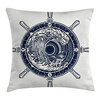 Ambesonne Adventure Throw Pillow Cushion Cover Sea Compass and Storm Tattoo Design in Celtic Style Tsunami Waves and Wheel Decorative Square Accent Pillow Case 18  X 18  Blue White