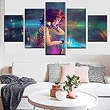 A~LICE&KP 5 pièces Couleur DJ Anime Fille Toiles Impression Art Mural des Photos...