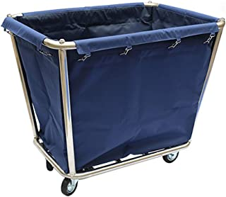 Utility Carts Stainless Steel Rolling Trolley Cloth Car Hotel Laundry Dirty Clothes Towel Bag Detachable Serving Cart, 90x65x80cm (Color : Blue)